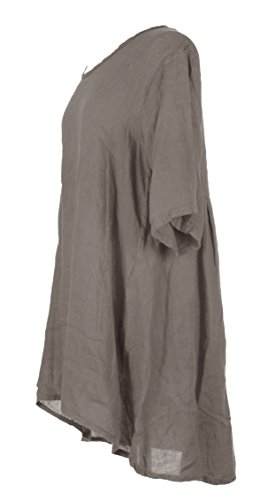 Damen Womens italienischen Lagenlook schrulligen kurze Ärmel Hälfte Taste Back Plain Leinen Tunika Kleid One Size UK 12-16 Mokka