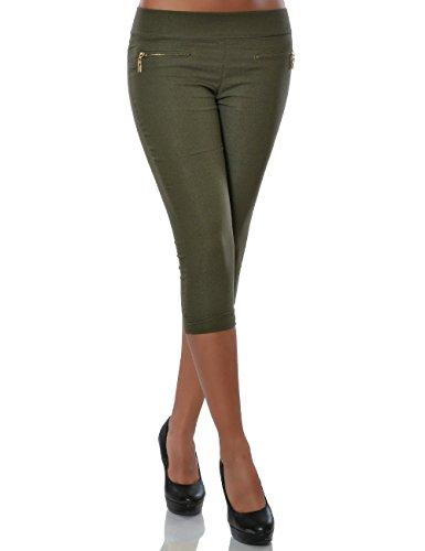 Damen Capri Hose Sommerhose Kurze-Hosen (weitere Farben) No 15526, Farbe:Khaki;Größe:40 / L (Capri-hosen Shorts Khaki)