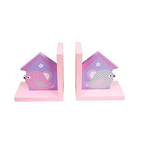 Hoddmimis Home & Living Birdhouse Themed Wooden Bookends for Kids (Set of 2)