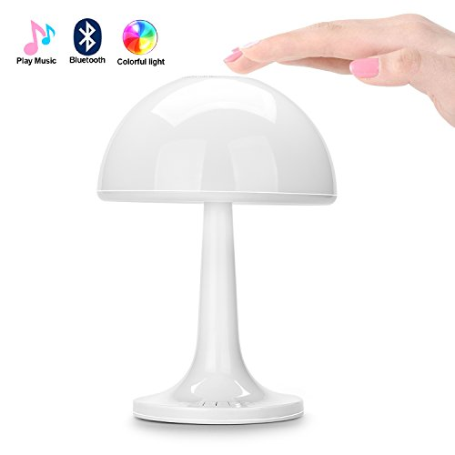 Liqoo® 8W LED Lámpara de Mesa Cabecera Luz de Noche Sensible al Tácto Inalámbrico Iluminación de Ambiente con Altavoz Bluetooth 7 Colores Convertibles Cargado por Cable USB o Batería de Ni-MH