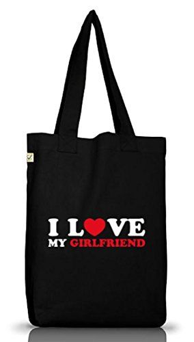 Shirtstreet24, I LOVE MY GIRLFRIEND 2,Valentinstag Jutebeutel Stoff Tasche Earth Positive (ONE SIZE) Black