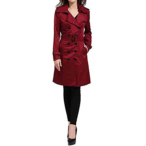 Abstand Heligen Damen Winter Revers Zweireiher SlimLong Trenchcoat Mantel Jacke Outwear Cardigan Trenchcoat Fleece Pullover Taschen