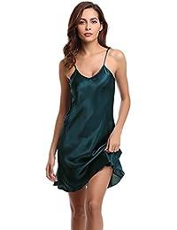 d45ea0820eb56 Aibrou Damen Nachthemd Sexy Negligee Satin Nachtkleid Kurz Sommer  Nachtwäsche Sleepwear Trägerkleid V Ausschnitt
