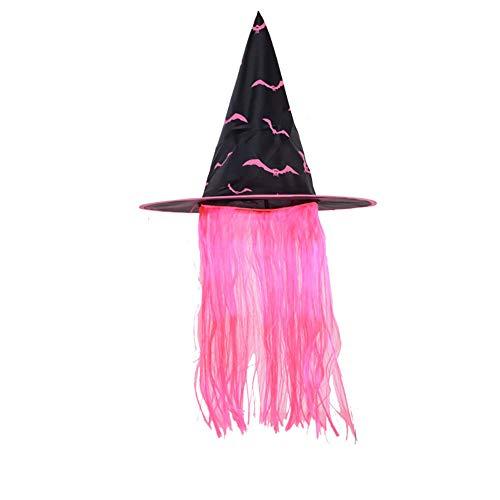 Ouken Halloween Cosplay Hexenhut mit Perücke Geisterfest-Partei-Maskerade Props Zubehör Wig Hexenhut Dekoration (Rosa)