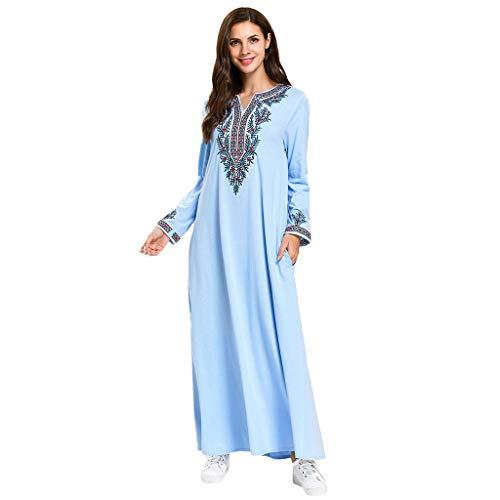 ZEELIY Muslimische Kleider Damen Islamische Kleidung Frauen Gebetskleidung Muslim Maxikleid Trompetenärmel Abaya Langer Rock Robe Kleider Tunika Gürtel