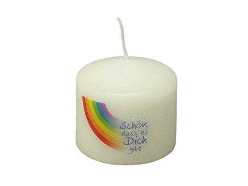 Kerze Mini Regenbogen Schön, dass es dich gibt 6 x 5,5 cm