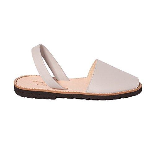 Minorquines - Sandales Avarca Cuir Perla - Femme Gris