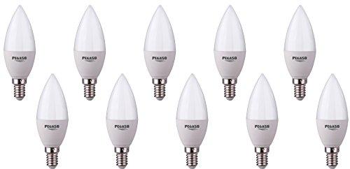 Set di 10 LAMPADINE CANDELA C37 LED PEGASO, 7W, E14, Lampada LED, ø37x100, 6000K, Luce BIANCA, 595 Lm, sostituisce 42W, raggio di illuminazione 200°. [Classe di efficienza energetica A+]