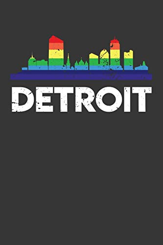Detroit: Weekly 100 page 6 x 9 journal Proud of your American City skylines, LGBT Flag Rainbow City Pride to jot down your ideas and notes