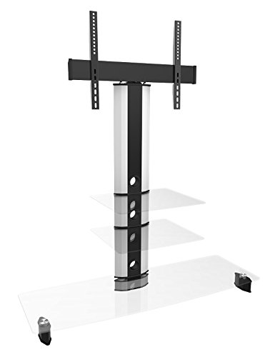 Goldline Cantilever Tv Stand For Led 24 Inch 32 Inch, 42 Inch, 46 Inch 50 Inch 55 Inch 70 Inch Tv's, 3 Clear Glass Shelves In White Finish