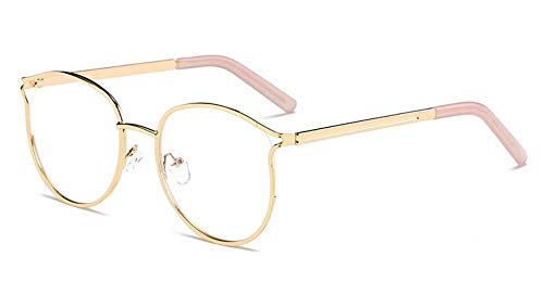 Fashion cat Eye Hollow Glasses Frame, Ladies Student Decorative Glasses, Gold Frame Powder Legs