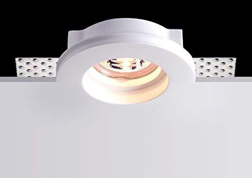 Kingled - Support Haute Qualité pour Spot Led en Résine de Craie Rond Encastrable en Plâtre et Pitturable pour Projecteur Led GU10 Douille GU10 inclus Dimensions 100*32mm Modèle 0627