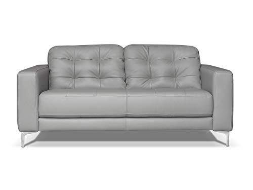 Alkove - canapé moderne en cuir Holt, 2places, GRIS CLAIR