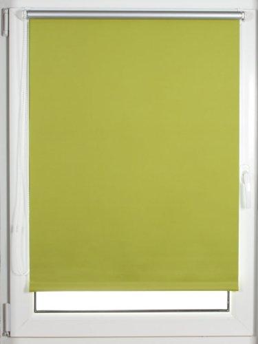 Thermo-Minirollo ~ OHNE BOHREN ~ verdunkelnd ~ grün ~ Größe: 110 x 170 cm ~ Außenseite silber beschichtet ~ Mini Rollo