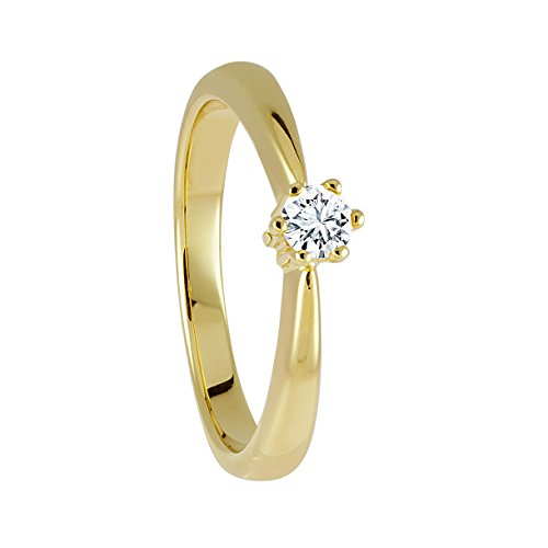 Diamond Line Diamant-Ring Damen 585 Gelbgold mit 1 Brillianten 0.20 ct. Lupenrein