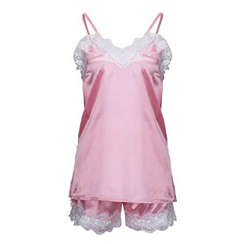 TIMEMEAN Damen Bekleidung Sexy Satin Sling Pyjamas Unterwäsche Spitze Bogen Nachthemd