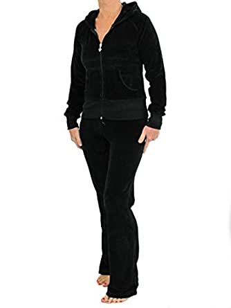 Love Lola Womens Velour Tracksuits Ladies Full Luxury Lounge Suits Hoodys Joggers Heart Designer Inspired Plus Sizes ( 16-18 / X-Large, Black )