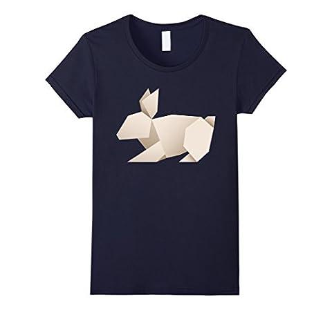 Women's Origami Rabbit Bunny T-Shirt Small Navy
