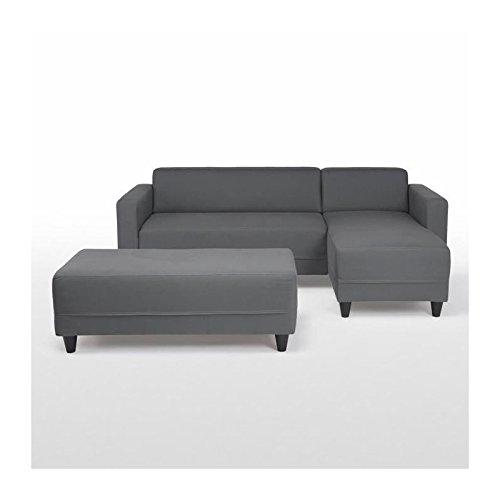 Finlandek canapé d'angle réversible convertible 4 places + banc kulma - 205x141x70 cm - tissu - gris