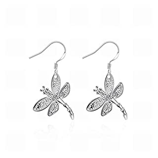 AYLS Inlay Dragonfly Earrings Dragonfly Shape Silver Earrings Lady/Stainless Steel/Anti-allergic/Silver Flashing/Small Exquisite/Hook Earrings