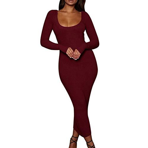 (TianWlio Frauen Kleid Mode Damen Weihnachtsdruck AFFE Charakter Langarm Kleid Damen Minikleid)