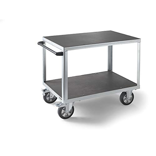 EUROKRAFT ACTIVE GREEN Premium-Montagewagen - 2 Ladeflächen aus Siebdruckplatten - Ladefläche 1050 x 700 mm, Gestell verzinkt - Bestellwagen Fahrbare Werkbank Fahrbarer Arbeitstisch Werkbank -