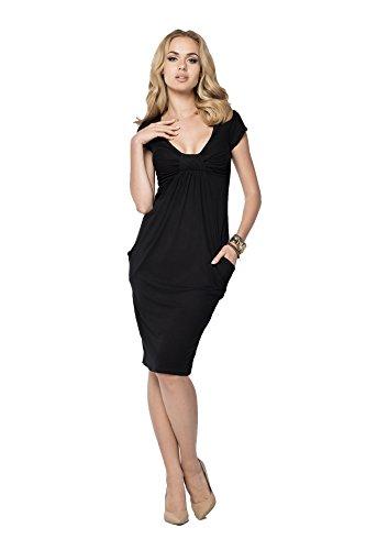 Minikleid Top Kleid V-Ausschnitt Top 8 Farben Gr. S M L XL XXL 3XL, 005 Schwarz