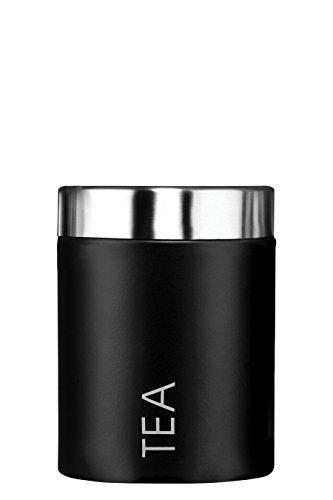 Premier Housewares - Bote para guardar te, acero inoxidable esmaltado, color negro