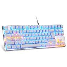 Mechanische Tastatur mit blau Schalter, lingbao jiguanshi Mini Wired USB Gaming Tastatur mit bunten Hintergrundbeleuchtung LED-Licht, alle Schlüssel Anti-Ghosting für PC, Mac, Laptop, Gamer Tilt Usb
