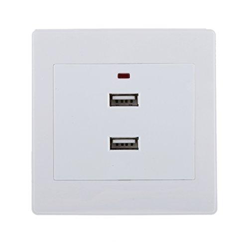 2,1a Blanco Puertos USB Cargador Doble Toma de Corriente del Panel eléctrico...