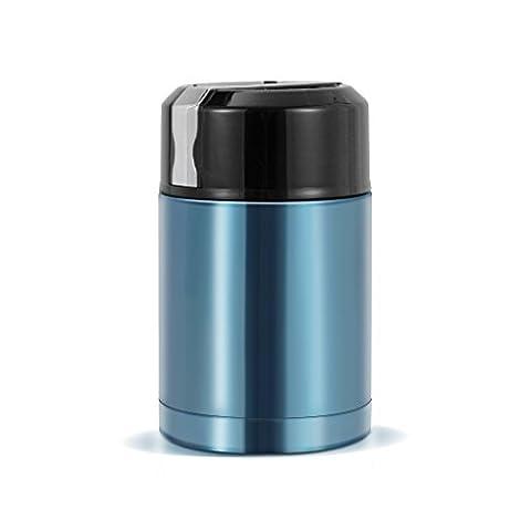 HJJL Flacon à vide Flacon alimentaire Flacon en acier inoxydableChaussure thermos isolée Tasse à préservation de la chaleur Bouteille Voyage Cuillère à soupe Cuillère à soupe Porridge Containers 1000ML (Bleu)