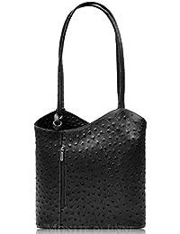 a4c8ff97c4 Handbag Bliss Italian Leather Ostrich Print Shoulder Bag Handbag Backpack  Rucksack (Black)