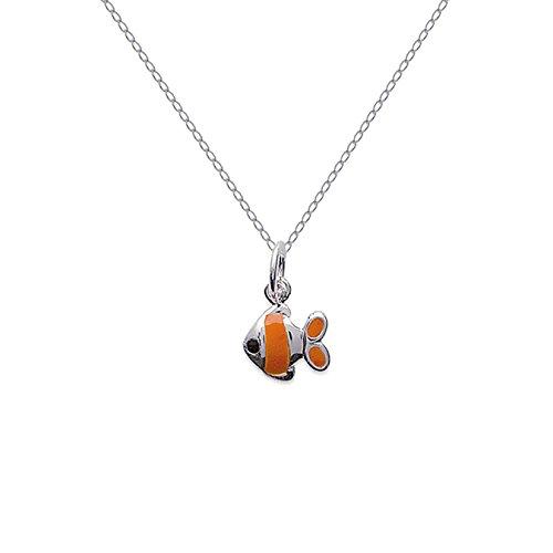 Halskette 50cm Fisch Nemo in Silber 925und Emaille NEU -