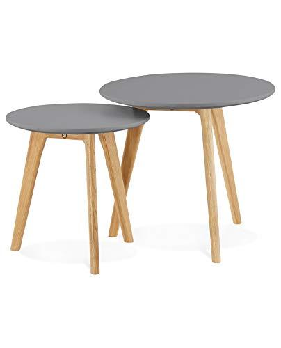 Kokoon design Tables Basses gigognes avec Plateau en Bois Gris foncé ESPINO