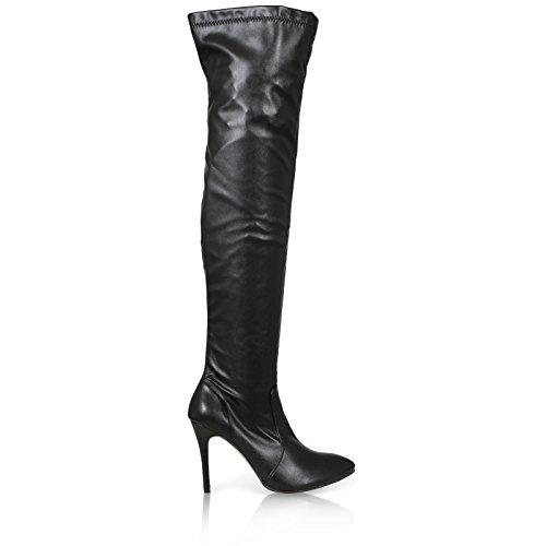 Stiefel / Overknees für Damen, spitz zulaufend, mit Pfennigabsatz, in den Größen 37-43 erhältlich Schwarz (Black Pu)