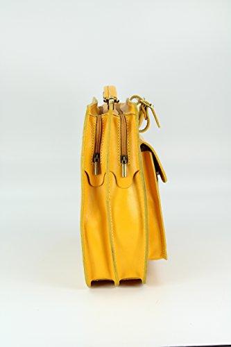 BELLI Design Bag Verona ital. Leder Businesstasche Arbeitstasche Messenger Aktentasche Lehrertasche Laptoptasche unisex - Farbauswahl - 39x29x11 cm (B x H x T) Gelb