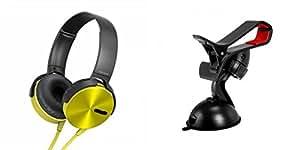 MIRZA Extra Extra Bass XB450 Headphones & Car Holder for LG OPTIMUS L3(Extra Extra Bass XB450 Headphones,With MIC,Extra Bass,Headset,Sports Headset,Wired Headset & Car Holder,Mobile Holder )