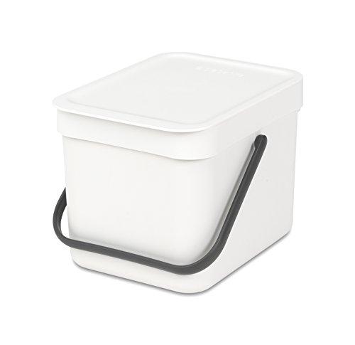 Brabantia 109706 Abfallbehälter 'Sort & Go', 6 L Abfalleimer, Plastik, weiß, 58.4 x 28.5 x 42.4 cm - Mit Mülleimer Weiß Deckel