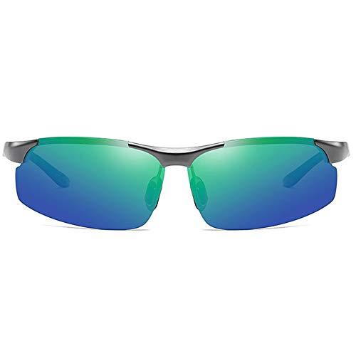 Lxc Polarisierte Aluminium-Magnesium-Sonnenbrillen Mit Tag- Und Nacht-Einsatz Für UV400-Sonnenbrillen Mit Grauem Rahmen Und Blau-grünen Gläsern Für Herren Zeige Temperament