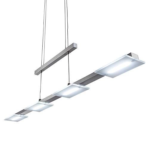 Lampadario led a sospensione i lampada da soffitto per l'illuminazione da interno i luce bianca calda i corpo metallo, nickel opaco i incl. 4 piastre led integrate 4 w i 230 v i ip20