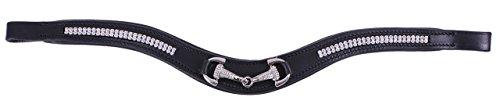 QHP Stirnband Emberly Leder schwarz, Strasssteine und Einem Gebiss mit Strass (Pony)
