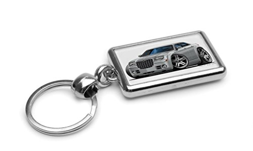 wickedartz-cartoon-car-chrysler-300c-silver-premium-metal-key-ring