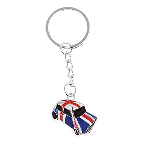 London Mini Car Union Jack Keyring England UK GB Key Ring Key Chain Gift Souvenir Bag Charm ng Keychain
