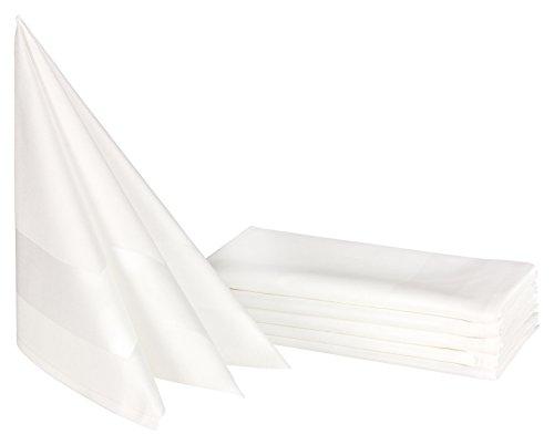 ZOLLNER® 6er-Set Vollzwirn Damast Stoffservietten / Mundservietten weiß 50x50 cm mit edlem Atlasstreifen, in verschiedenen Größen erhältlich, vom Hotelwäschespezialisten, Serie