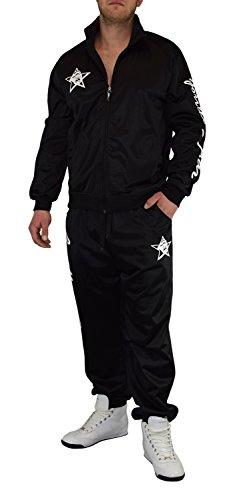 Gorilla-Star angesagter Herren Glanz-Trainingsanzug Jogginganzug Freizeit-Anzug in super Farben Größe S - 4XL (2XL, schwarz) (Jungen Billig Anzüge Für)