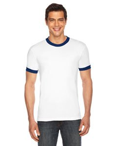 American Apparel Unisex Poly-Cotton Short Sleeve Ringer T-Shirt - White / Navy / XS (Short T-shirt White Sleeve Ringer)