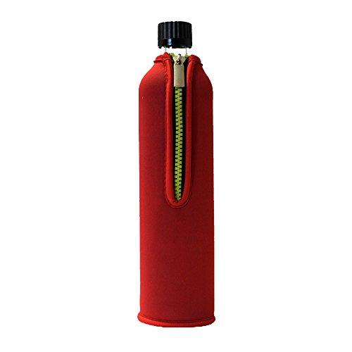 Dora's Glasflasche mit Neoprenbezug 500 ml (rot)