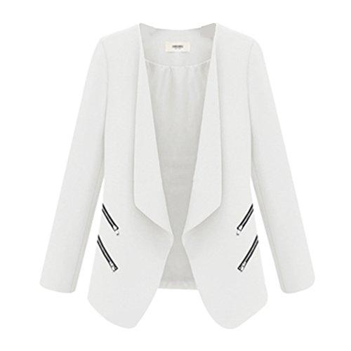 ZKOO Femme Blazer Veste Casual Single Breasted Haut De Tailleur Slim Blazer Revers Fermeture Eclair Poches Costume ZKOO