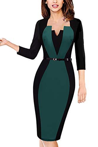 (MisShow Damen Elegant 3/4 Arm Cocktailkleid 1950er Jahre Business Stretch Kleid Knielang Grün Gr.L)