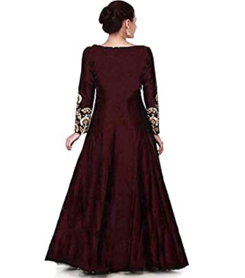 Ved Fashion Women's Taffeta Silk Anarkali Gown (Maroon)